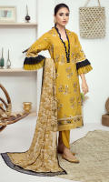 Embroidered karandi front  Embroidered border for karandi back  Embroidered karandi sleeves  Embroidered chiffon dupatta  Embroidered cotton trouser