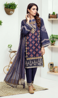Embroidered karandi front  Embroidered pattiyan for hem and chawlk  Embroidered karandi sleeves  Embroidered chiffon dupatta  Embroidered cotton trouser