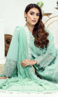 Embroidered karandi front  Embroidered border for karandi back  Embroidered karandi sleeves  Embroidered chiffon dupatta  Embroidered karandi trouser