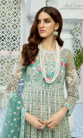Embroidered net for front & back yoke: 0.75 yards Embroidered net panels for frock: 16 panels Embroidered net for sleeves: 0.75 yard Embroidered net for dupatta: 2.75 yards Dyed raw silk for trousers: 2.50 yards