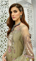 Embroidered organza for front canter panel: 1 pc Embroidered organza for front side panels: 2 pcs Embroidered organza border for front: 1 yard Embroidered organza for back: 1 yard Embroidered organza border for back: 1 yard Embroidered organza for sleeves: 0.75 yard Embroidered chiffon for dupatta: 2.75 yards Dyed raw silk for trousers: 2.50 yards Embroidered organza border for trousers: 1 yard