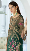 Embroidered organza with stone embellishments for front: 1 yard Embroidered organza for back: 1 yard Embroidered silk border for front & back: 2 yards Embroidered organza for sleeves: 0.75 yard Embroidered silk border for sleeves: 1 yard Embroidered net for dupatta: 2.75 yards Dyed raw silk for trousers: 2.50 yards