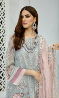Embroidered organza with stones embellishments for front left & right panels: 2pcs Embroidered organza for front side panels: 2 pcs Embroidered organza border for front canter: 1.25 yards Embroidered organza for back: 1 yard Embroidered organza border for front & back: 2 yards Embroidered organza for sleeves: 0.75 yards Embroidered net for dupatta: 2.75 yards Dyed raw silk for trousers: 2.50 yards Embroidered organza border for trousers: 2 yards