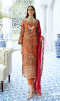 Embroidered organza for front: 1 yard Embroidered organza with handmade embellishments for front neck patch: 1 pc Embroidered organza for back: 1 yard Embroidered organza for front & back border: 2 yards Embroidered organza for sleeves: 0.75 yard Embroidered organza border for sleeves: 1 yard Embroidered chiffon for dupatta: 2.75 yards Dyed raw silk for trousers: 2.50 yards