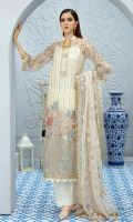 Embroidered net for front: 1 yard Embroidered net border for front: 1 pc Embroidered net for back: 1 yard Embroidered net for back neck patch: 1pc Embroidered silk border for front, back & sleeves: 2.75 yards Embroidered net for sleeves: 0.75 yard Embroidered net for dupatta: 2.75 yards Dyed raw silk for trousers: 2.50 yards