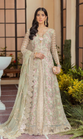 Embroidered & hand embellished net body. Embroidered & hand embellished net front panels. Embroidered organza front back small border. Embroidered organza front back border. Embroidered net back body. Embroidered net back panels. Embroidered organza sleeves. Embroidered organza lehenga. Embroidered organza lehenga border. Dyed raw silk trouser. Embroidered chiffon dupatta.