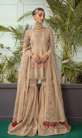 Embroidered & hand embellished chiffon front bodice.  Embroidered organza front bodice patti.  Embroidered organza front back border.  Embroidered chiffon front panels.  Embroidered chiffon back.  Embroidered organza front border.  Embroidered organza sharara .  Dyed organza sharara.  Embroidered organza sharara border.  Embroidered organza sharera 1 inch border.  Embroidered organza dupatta.