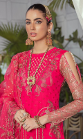 Embroidered chiffon front.  Embroidered organza 3d flowers .  Embroidered organza front back border.  Embroidered chiffon back.  Embroidered chiffon sleeves.  Dyed raw silk trousers.  Embroidered organza trouser border.  Embroidered net dupatta.