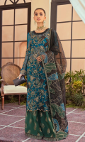 Embroidered and diamonte studded chiffon front.  Hand embellished neck patch.  Embroidered chiffon back.  Embroidered chiffon sleeves.  Embroidered organza back & sleeves border.  Embroidered raw silk sharara.  Embroidered organza sharara border.  Embroidered organza diamonte studded dupatta.