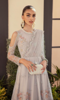 Embroidered net front bodice.  Hand embellished neck patch.  Embroidered net front centre panel.  Embroidered net front right left panels ...  Embroidered organza front back border.  Embroidered net back bodice.  Embroidered net back centre panel.  Embroidered net back right left panels .  Embroidered net sleeves.  Dyed raw silk trouser.  Embroidered net diamonte studded dupatta.