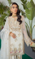 Embroidered & hand embellishment chiffon front.  Embroidered chiffon side panels.  Embroidered organza panels border.  Embroidered organza front back border.  Embroidered chiffon back.  Embroidered chiffon sleeves .  Embroidered organza sleeve border .  Embroidered raw silk trouser .  Embroidered organza trouser border .  Embroidered organza dupatta.
