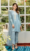 Embroidered lawn for front  Embroidered organza border with pearls for neck  Digital printed lawn for back & sleeves  Embroidered net for dupatta  Dyed cotton trousers