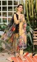 Embroidered + Digital printed lawn for shirt  Digital printed chiffon for dupatta  Dyed cotton for trousers