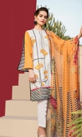 Embroidered + Digital printed lawn for shirt:  Digital printed chiffon for dupatta:  Dyed cotton for trousers: