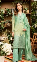 Digital printed lawn for shirt  Embroidered organza for front & back  Embroidered organza border for front, back & sleeves  Embroidered organza for dupatta  Embroidered cotton for trousers