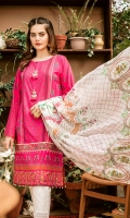 Embroidered + Digital printed lawn for shirt  Digital printed silk for dupatta  Dyed cotton for trousers