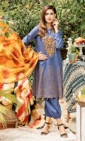 Digital printed lawn for shirt  Embroidered organza for front neck patch  Digital printed silk for dupatta  Dyed cotton for trousers