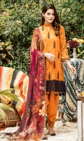 Embroidered + Digital printed lawn for shirt  Embroidered organza border for front & back  Digital printed chiffon for dupatta  Dyed cotton for trousers