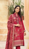 Embroidered Peach Leather Shirt Embroidered Wool Dupatta Dyed Trouser