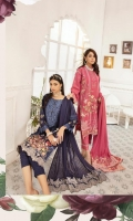 Embroidered Sami Peach Shirt Embroidered Chiffon Dupatta Dyed Trouser
