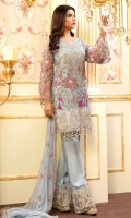 EMBROIDERED NET HANDMADE FRONT BACK AND SLEEVES EMBROIDERED CHIFFON DUPPATA EMBROIDERED PATCHES GRIP TROSER AND ACCESSORIES