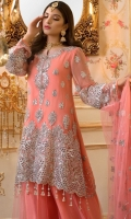 EMBROIDERED CHIFFON FRONT BACK AND SLEEVES EMBROIDERED NET DUPPATA EMBROIDERED DAMAN PATCH EMBROIDERED NET SHARARA GRIP INNER AND ACCESSORIES