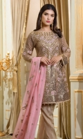 EMBROIDERED CHIFFON FRONT BACK AND SLEEVES AND DUPPATA EMBROIDERED DAMAN PATCHES GRIP TROSER AND ACCESSORIES