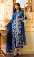 EMBROIDERED CHIFFON FRONT BACK AND SLEEVES AND DUPPATA EMBROIDERED PATCHES GRIP TROUSER AND ACCESSORIES