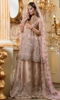 EMBROIDERED CHIFFON FRONT BACK AND SLEEVES EMBROIDERED NET DUPPATA EMBROIDERED NET SHARARA JAMAWAR INNER AND ACCESSORIES
