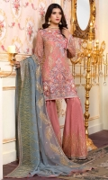 EMBROIDERED CHIFFON FRONT BACK SLEEVES AND DUPPATA EMBROIDERED DAMAN PATCH EMBROIDERED GRIP TROUSER AND ACCESSORIES