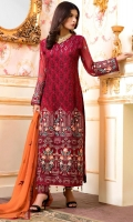EMBROIDERED CHIFFON FRONT BACK SLEEVES AND DUPPATA EMBROIDERED DAMAN PATCH GRIP TROUSER AND ACCESSORIES