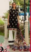 Front: Dyed self jacquard embriodered lawn Back: Dyed self jacquard lawn Sleeves: Dyed self jacquard lawn Pants: Printed Cambric Dupatta: Digital Printed chiffon Embroideries:Nackline Patti Sleeve border