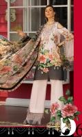 Front: Digital printed lawn Back: Digital printed lawn Sleeves: Digital printed lawn Pants: Dyed Cambric Dupatta: Digital Printed chiffon Embroideries:Nackline Trouser patches