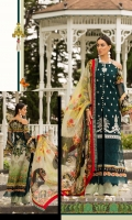 Front: Dyed self jacquard embriodered lawn  Back: Digital printed lawn Sleeves: Digital printed lawn Pants: Dyed Cambric Dupatta: Digital Printed chiffon Embroideries:Nackline