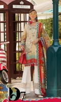 Front: Digital printed lawn Back: Digital printed lawn Sleeves: Digital printed lawn Pants: Printed Cambric Dupatta: Digital Printed chiffon Embroideries:Nackline Motif patch (2)