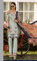 Front: Dyed self jacquard embriodered lawn Back: Digital printed lawn Sleeves: Digital printed lawn Pants: Dyed Cambric Dupatta: Digital Printed chiffon Embroideries:Silk Nackline