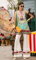 Front: Digital printed lawn Back: Digital printed lawn Sleeves: Digital printed lawn Pants: Printed Cambric Dupatta: Digital Printed Chiffon Embroideries:Nackline Patti Front Ghara patch (2)