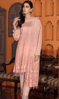 • Embroidered Chiffon Shirt with sequins and tilla: 3.25 yards • Embroidered front border patch on tissue: 28 inches • Embroidered back border patch on tissue: 28 inches • Embroidered sleeves border patch on tissue: 40 inches • Embroidered net dupatta: 2.5 yards • Dyed PK grip trouser: 2.5 yards • Crystals for shirt tasseling