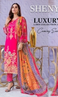 • Embroidered and digital printed lawn front with sequins: 1.25 yard • Digital printed lawn back and sleeves: 2 yards • Embroidered front border on tissue with sequins: 29 inch • Digital printed tissue silk dupatta: 2.5 yards • Dyed jacquard trouser: 2.5 yards