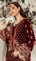 Embroidered Velvet front. 0.75 M  Front slit borders 1.5 M X 2  Velvet back 0.75 M  Velvet embroidered neckline patch 1  Sleeves 1.33 M  Sleeves border 20 Inches  Crushed tissue dupatta 2.5 M  Embroidery dupatta border 8 M  Embroidered Pants border 1 M  Velvet trousers