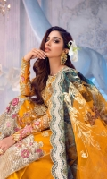 Embroidered and handworked organza front panel Embroidered organza side panel Embroidered organza back panel Embroidered front daman patch 1 piece Embroidered shirt border Embroidered trousers border Dyed dobby trousers Embroidered pouch Embroidered organza sleeves viscose slip Embroidered dupatta border Digital and foil printed dupatta