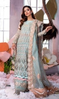 Embroidered organza front Embroidered organza back Embroidered organza sleeves Embroidered velvet neckline 1 piece Embroidered organza shirt border Embroidered trouser border Embroidered dupatta border Embroidered dupatta pallu Block printed organza dupatta Viscose slip Moonlight tissue trousers Embroidered flamingo pouch ice blue shirt