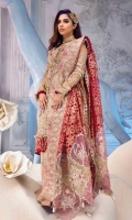 Embroidered zari net front panel Embroidered zari net side panel Embroidered zari net back Embroidered zari net sleeves Side panel neckline Side panel border Laser cut embroidered dupatta pallu Embroidered dupatta border Viscose slip Moonlight trousers Embroidered trousers border Neckline motif Organza jacquard angrakha border Organza foil printed dupatta