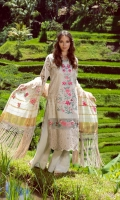 "Lawn Embroidery Front: 1 Meter  Tissue Neck Patch: 1 Piece  Sleeves Patch: 2 Piece  Chantilly Border: 3. 0""  Side panels: 13""  Front Border: 32.5''  Cambric Trouser: 2 Meter  Dupatta Embroidered Karandi: 2.66 Meter"