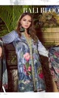 "Lawn Front, Back and Sleeves (digital): 3.10 Meter  Neckline: 1.5 Meter  Front Border: 32.5""  Front Patch: 1 Piece  Sleeves Border: 1 Meter  Sleeves Batch: 2 Piece  Trouser Jacquard: 2 Meter  Dupatta Tissue Silk (digital): 2.66 Meter"