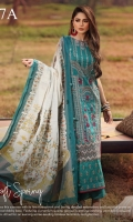 -EMBROIDERED DOBBY FRONT LAWN 1.15 METER  -PRINTED DOBBY BACK LAWN 1.25 METER  -PRINTED DOBBY SLEEVES 0.67 METER  -PLAIN CAMBRIC TROUSER 2 METER  -JACQUARD DUPATTA 1 PC  -EMBROIDERED DAMAN BORDER 30 INCH  -EMBROIDRED SIDE PANEL 13 INCH