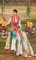 -PRINTED FRONT LAWN 1.25 METER  -PRINTED BACK LAWN 1.25 METER  -PLAIN SLEEVES LAWN 0.67 METER  -DOBBY TROUSER 2.5 METER  -JACQUARD DUPATTA 1 PC  -EMBROIDERED NECKLINE 1 PC  -EMBROIDERED DAMAN MOTIF 1 PC  -EMBROIDERED SLEEVES MOTIF 2 PCS