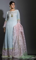 SKY BLUE SHADED DYE SELF EMBOSSED & HAND EMBROIDERED COTTON KHADI PISHWAS , WITH CONTRAST OF GREEN AND PINK. SHADED EMBROIDERED DUPATTA AND DYED STRAIGHT PANTS. COMPLETE OUTFIT GIVES THE FEEL OF DECENCY AND SOPHISTICATION.