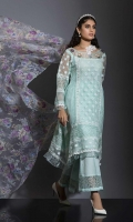 LOOK SUPER GLAM IN THIS EXQUISITE FLORAL SHIRT ARTFULLY CRAFTED WITH DIVINE THREAD EMBROIDERY NECKLINE. PAIRED IT WITH CREPE SILK BELL PANTS ENHANCED WITH COTTON WEAVEN SEQUENCE BORDER, AND PRINTED ORGANZA DUPATTA