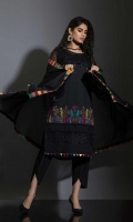 BLACK , COLOR WHICH MAKE YOU FALL IN LOVE-SCHIFFLI SHIR WITH WEAVEN SEQUENCE NET BODAS , TULIP PANT AND CHIFFON DUPATTA. ALL ENCHANCED WITH EMBROIDERY ON DAMAN AND FRENCH KNOT DETAILS.